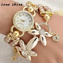 snowshine #10xin   Fashion Luxury Pearl Bracelet Quartz Watches Women Casual Wristwatches  free shipping