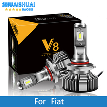 2 Pcs Car Headlight For Fiat Uno/Punto/Stilo/Panda/Albea/Linea/Idea/500L H7 H4 LED H1 H3 9005 6500K 8000LM CSP Light Bulb