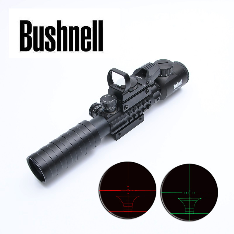 BUSHNELL 3-9x32 EG Optics Riflescope Hunting Scope With Tactical Holographic Reflex 4 Reticle Red Green Dot Sight Airsoft Rifle tactical 3 9x32 riflescope blue illuminated rangefinder reticle hunting scope with red laser