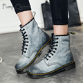 Plus Size 35-44 Fashion Women Boots Leather Martins Motorcycle Military Boots Low Heel Ankle Casual Shoes for Girls Ladies