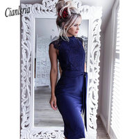 Lace High Neck Homecoming Dresses Short Party Dress With Back Slit And Satin Sashes Sheath Midi Gown