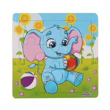 Animals Puzzle Wooden Cartoon Baby Puzzle Set Toy Education Learning tools Toy Kids Leopard Elephant Horse Mokey Deer Tiger H34