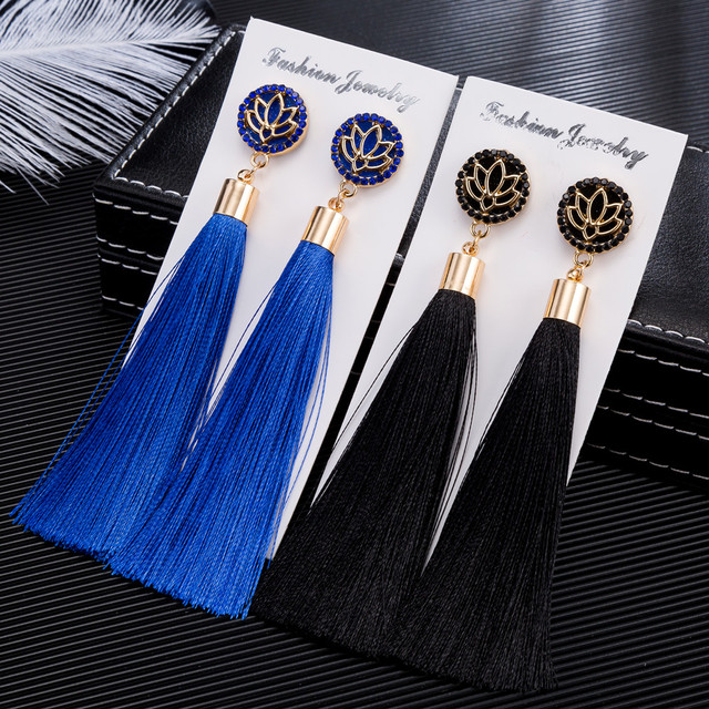 HOCOLE New Bohemian Crystal Tassel Earrings Black White Blue Red Silk Fabric Long Drop Dangle Tassel Earrings For Women Jewelry