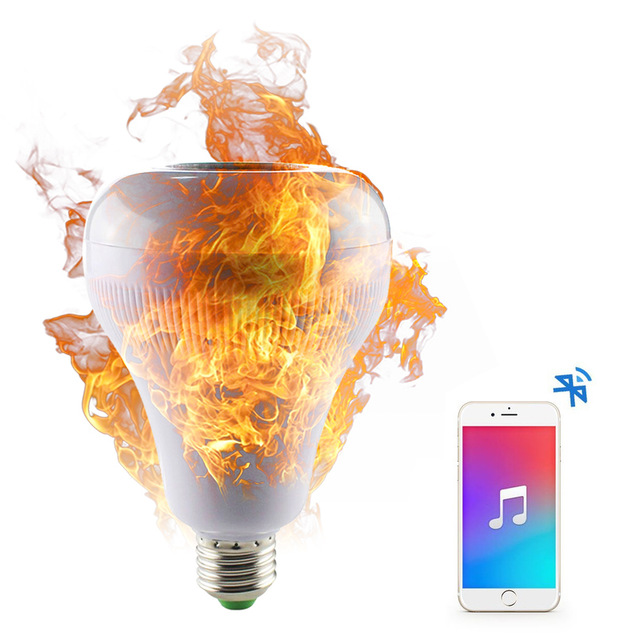 Wireless Bluetooth Speaker E27 LED RGB Music Flame Bulb Lamp Smart led RGBW Music Player Audio Light with Remote Control