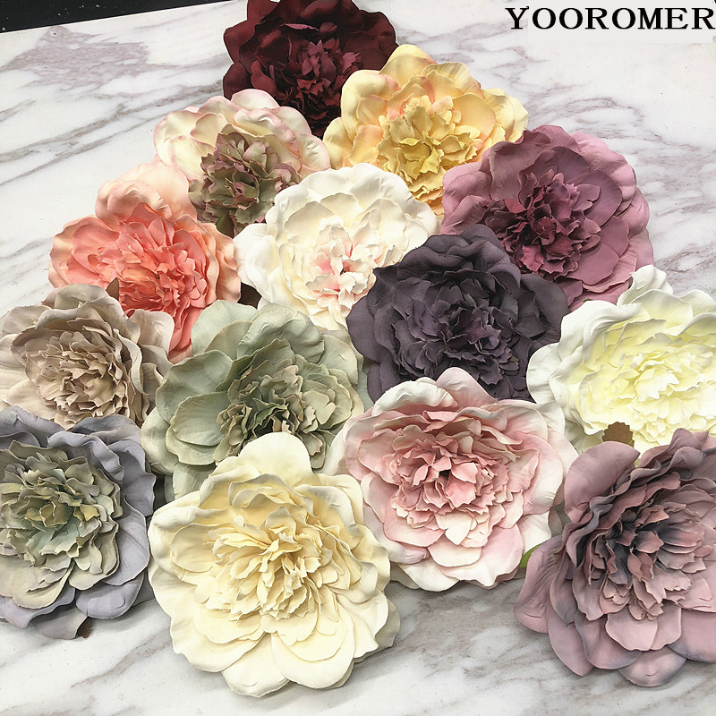 YOOROMER 5PCS Peony Flower Heads Decorative Scrapbooking Artificial Flower For Home Wedding Birthday Party Decoration Supplies