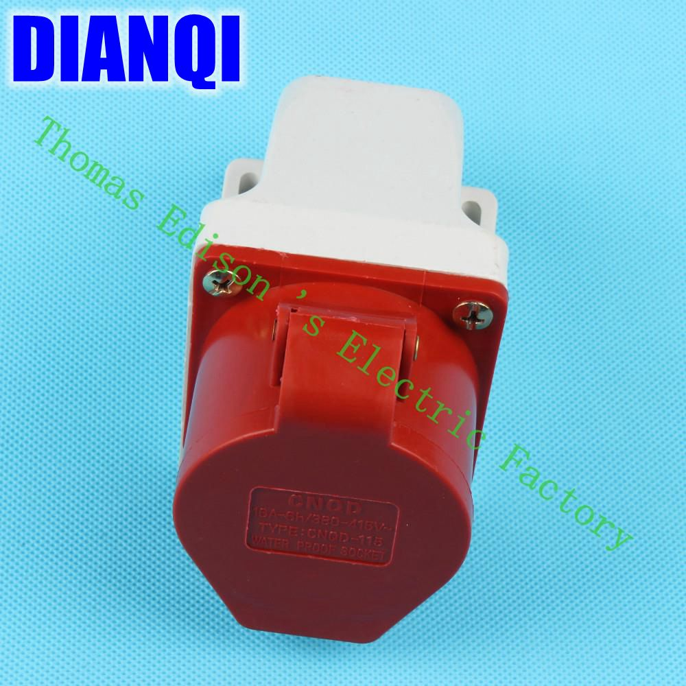 Industrial Socket Plug Coupler 115 CNQD-115 Red 16A 220V~415V 3P+E+N 5pin 60PCS/carton high quality ac 360 415v 16a ie 0140 4p e free hanging industrial plug red white
