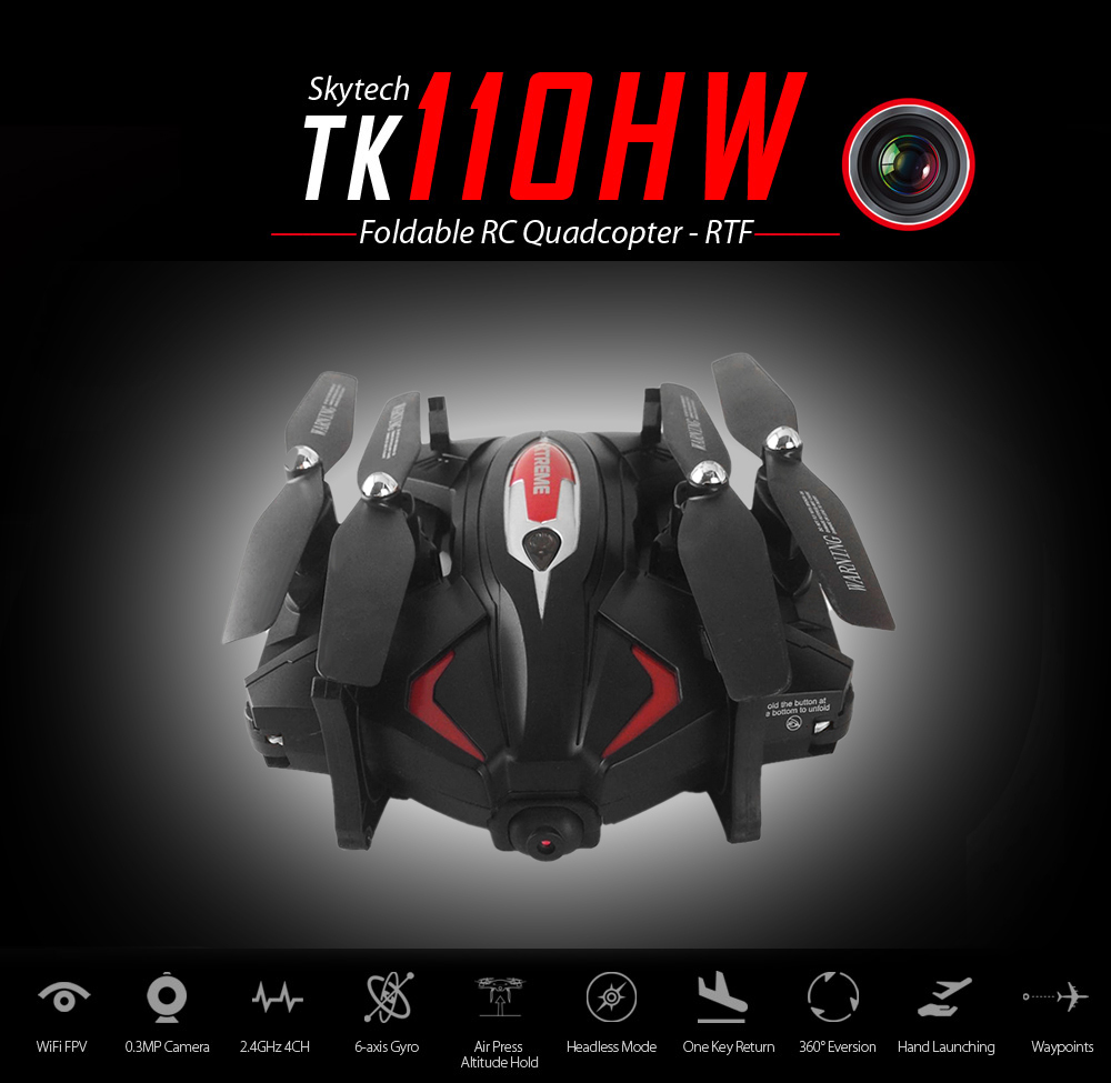 ФОТО Skytech TK110HW 2.4G 4CH Altitude Hold WIFI FPV 0.3MP Camera VR Function Foldable RC Quadcopter good as JJRC H37 E50S