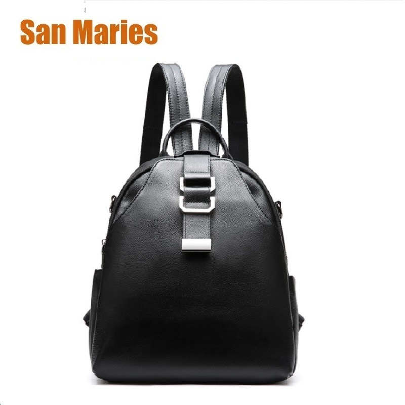 San Maries Brand 100% Genuine Leather Womens Backpack First Layer Cow Leather Backpacks Shopping Bag Black Bags 2ways BackpacpsSan Maries Brand 100% Genuine Leather Womens Backpack First Layer Cow Leather Backpacks Shopping Bag Black Bags 2ways Backpacps