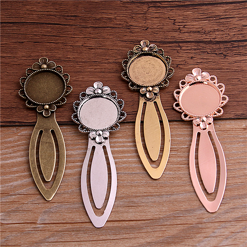 PULCHRITUDE 2pcs 20mm Inner Size Five Color Vintage Style Handmade Bookmark Cabochon Base Cameo Setting 28*83mm