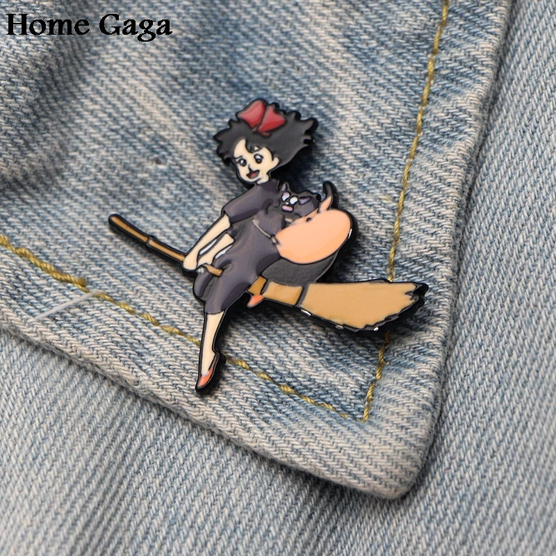 10pcs/lot Homegaga Kikis Delivery Service Zinc Tie Cartoon Funny Pins Backpack Clothes Brooches For Men Women Hat Badges D1588 Fast Color Home & Garden
