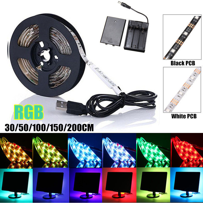 30/50/100/150/200CM Waterproof IP65 Dimmable RGB LED Strip Light 5050 SMD Battery Power USB TV Background Lighting