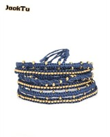 wholesae blue cotton word with gold nuggets 6 wrap bracelet men and women