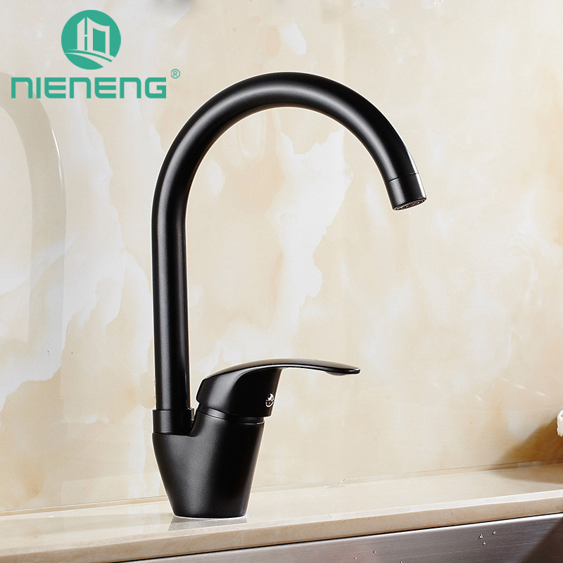 Nieneng Kitchen Faucet Deck Mixer Black Sink Tap Kitchen Appliances Torneira Tools Brass Faucet Basin Water