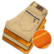 Зимние вельветовые брюки мужчины плотный бархат деловые повседневные мужские панталоны мужские теплые штаны на флисе Для мужчин Повседневная обувь Брюки плюс бархат