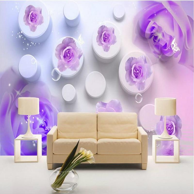 Dream Pink Purple Rose 3D Wallpapers for Walls 3d Wall Paper Muarl Vintage Decorative Painting Backdrop Home Improvement 3d ручка feizerg f001 purple fp001