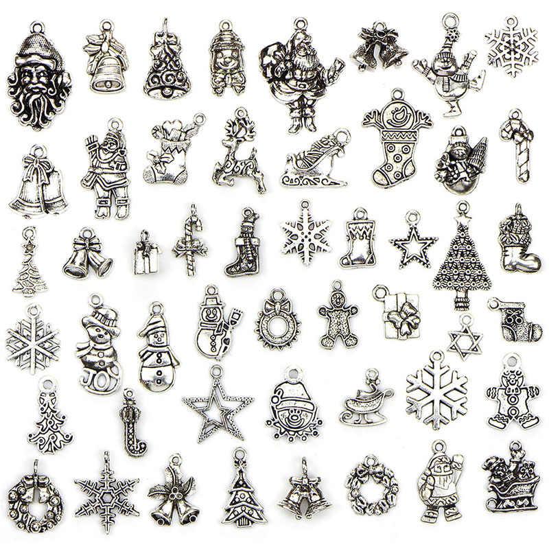 10 pcs/20 pcs/50 Pcs עץ חג המולד סנטה פתית שלג ליל כל הקדושים Ghost קסם תליוני DIY Nekclace צמיד תכשיטים לערבב עתיק כסף