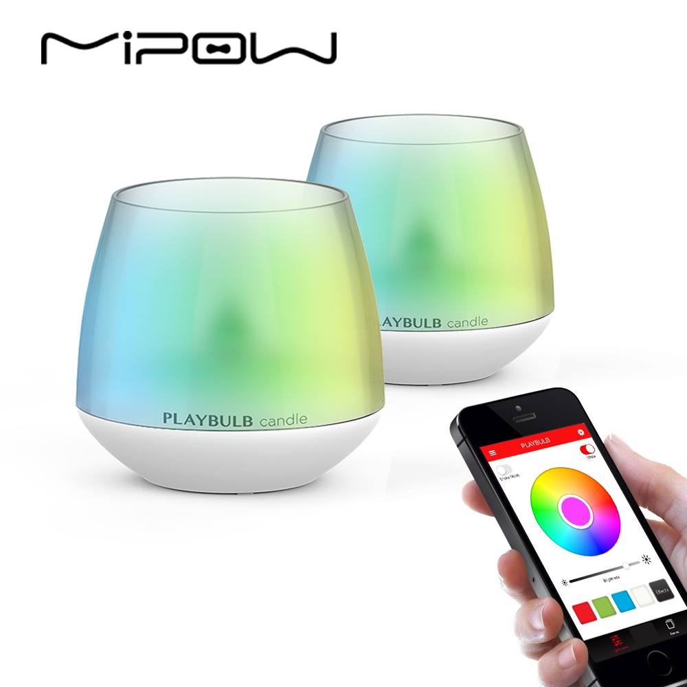 2Pcs MIPOW PLAYBULB LED Candle Smartphone APP Controlled Smart Aromatherapy Candles Light Color Flameless Multi-Colors