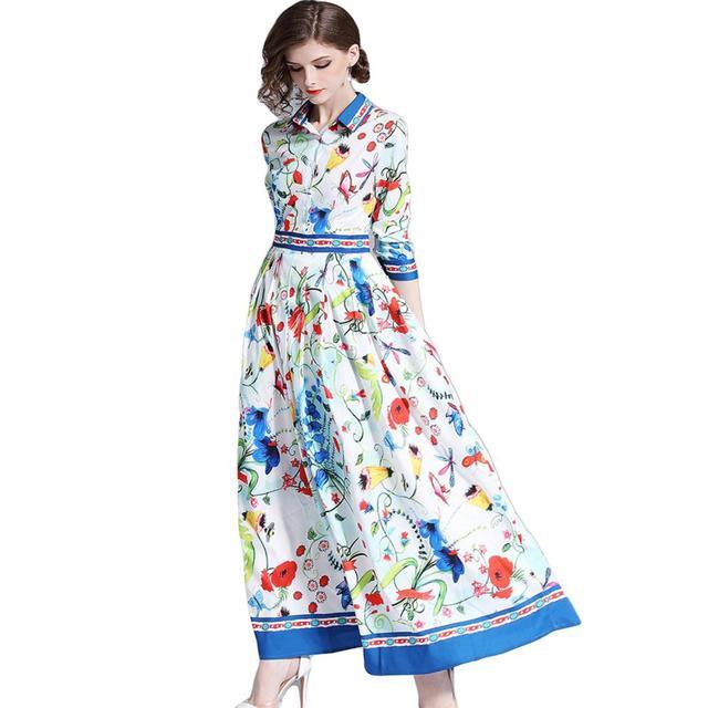 Runway Design Floral Print Maxi Dress Summer Shirt Long Sleeve Casual Shift Chiffon Dress Women Vintage Dames Jurken Boho Beach