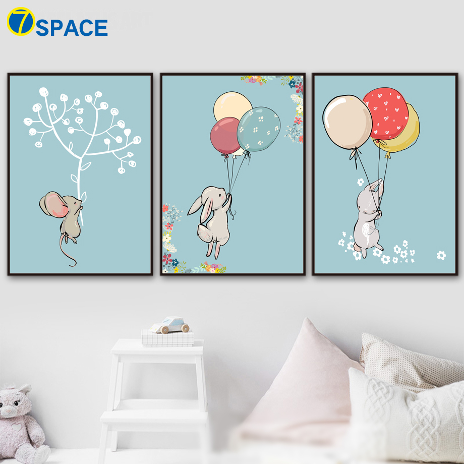 7 Space Rabbit Baby Nordic Posters And Prints Wall Art Canvas ...