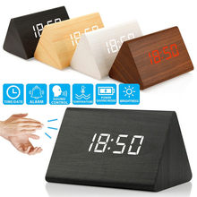 Quality Multifunction Alarm Clock Modern Wooden Thermometer Desk Clocks LED Digital LED Table Clock House Decoration Accerssory(China)
