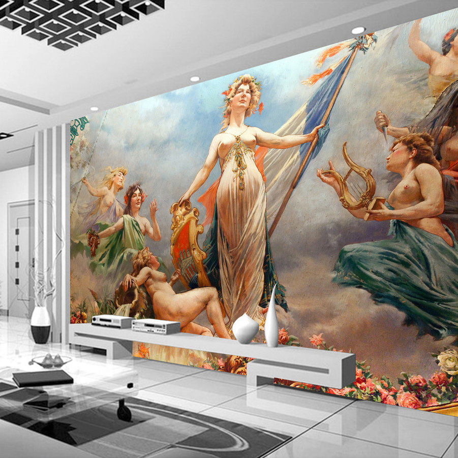 popular wall murals wallpaper buy cheap wall murals wallpaper lots custom photo wallpaper sofa tv backdrop wall painting european style characters oil painting nude woman art