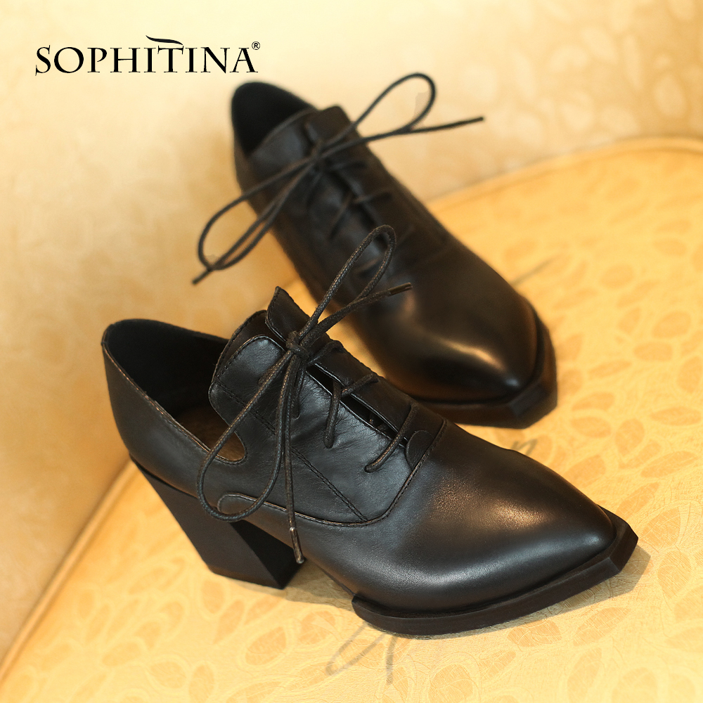 SOPHITINA Mature Women s Pumps Genuine Leather Fashion Cross Tied Pointed Toe Shoes Comfortable Square Heel