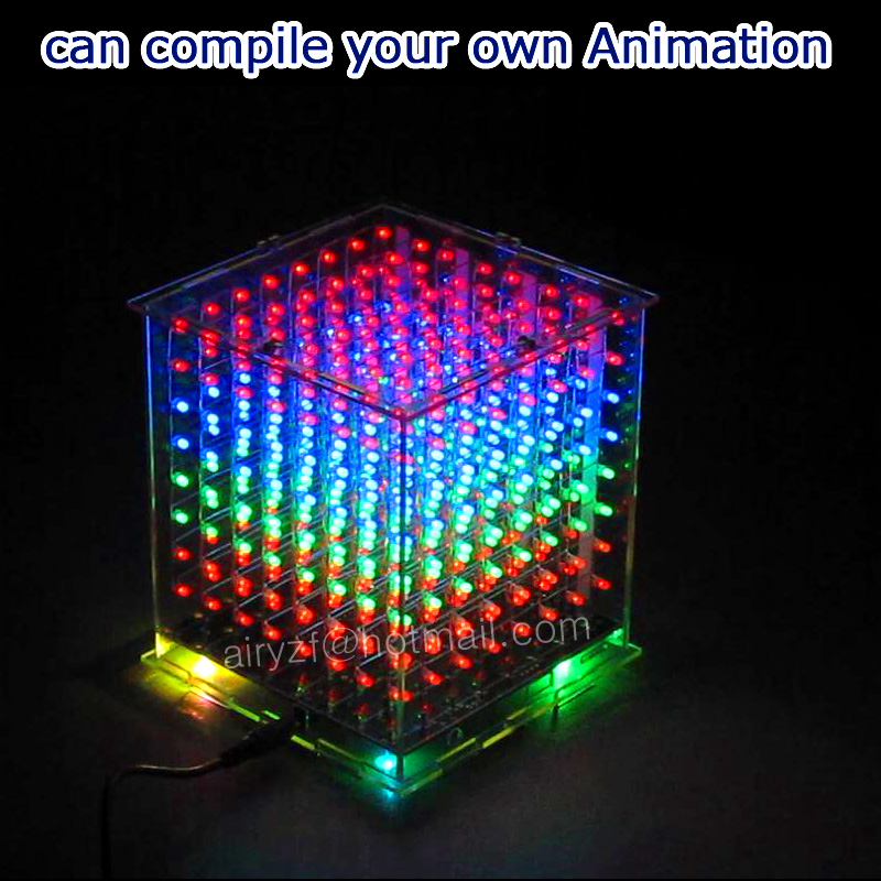 3D 8 multicolor mini light cubeeds LED DIY KIT with Excellent animations 3D8 8x8x8 Electronic gift/Junior led display