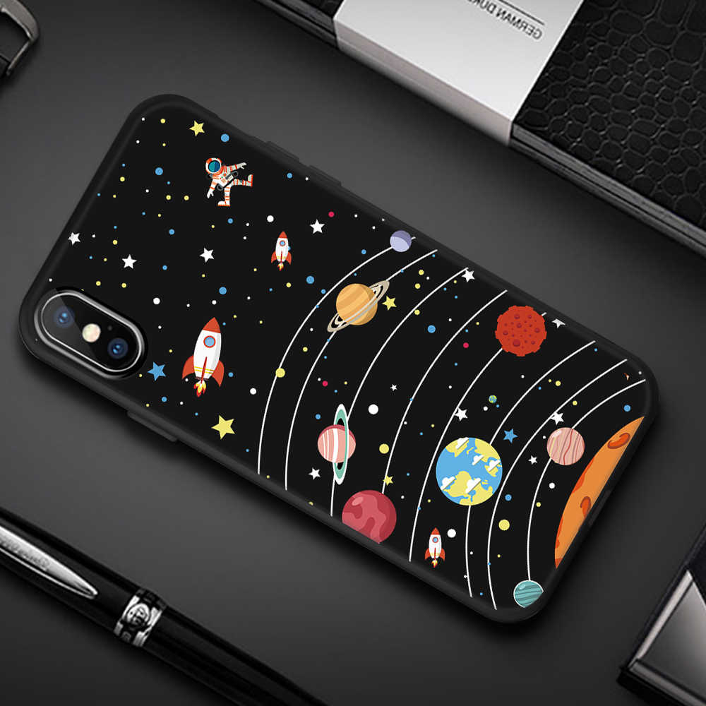Planet Bulan Bintang Spider Pola untuk iPhone X Max XS XR X 8 7 6 6S PLUS 5 5S SE Soft TPU Case For iPhone X Max XS XR