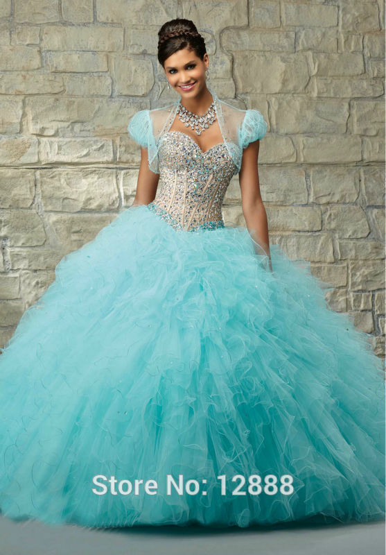 Blue Quinceanera Dresses Short Sleeve Jacket Organza Red Organza ...
