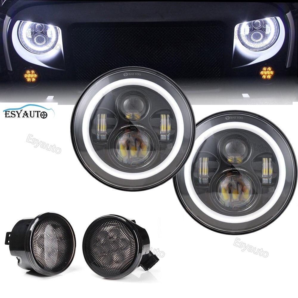 4 pcs/set 7 LED Headlights 40W with White Angel Eyes DRL + Front Fender Grill Turn Signal Lights for Jeep Wrangler JK LJ TJ