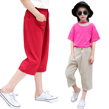 New 4-14y 2019 Summer Solid Color Linen Pleated Children Knee-length Pants for Baby Boys Girls Pants Harem Pants for Kids Child 2 7 yrs linen pleated kids pants hot 2018 summer girls boys pants children ankle length pants harem pants baby boy girl clothes