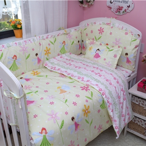 Baby Bedding Set 100 Cotton Crib Duvet Cover Sheet Pillowcase Fairy Flowers Design