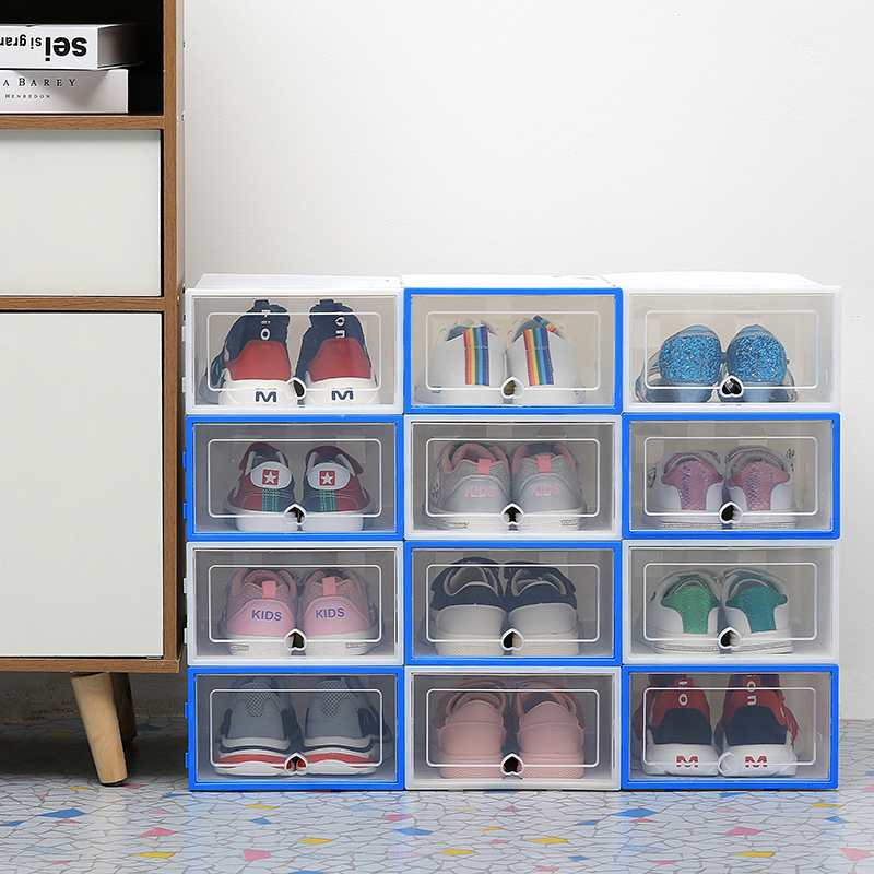 Image 3 - 6PCS/Set Thickened flip shoes transparent Drawer Case Plastic Shoe Boxes Stackable Box storage box shoe storage organizer-in Storage Boxes & Bins from Home & Garden