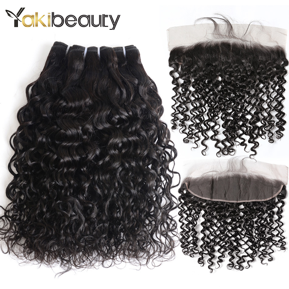Mink Brazilian Water Wave Bundles With Frontal 4*13 Wet And Wavy Human Hair 3 Bundles With Frontal Closure 8-28inch Remy Hair
