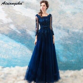 Vestido de gala azul oscuro