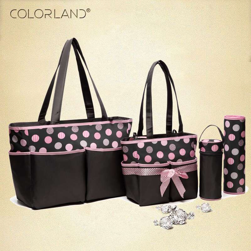 Colorland  Baby Mother Maternity Bag Diaper changing tote Bag Organizer Diapers  Handbag for moms Nappy Bags 5 Pieces Set