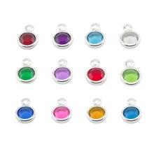 120 stks/partij gemengde Birthstone charms 6mm crystal voor voor Gepersonaliseerde Ketting (Jan December 10 stks van elke maand)