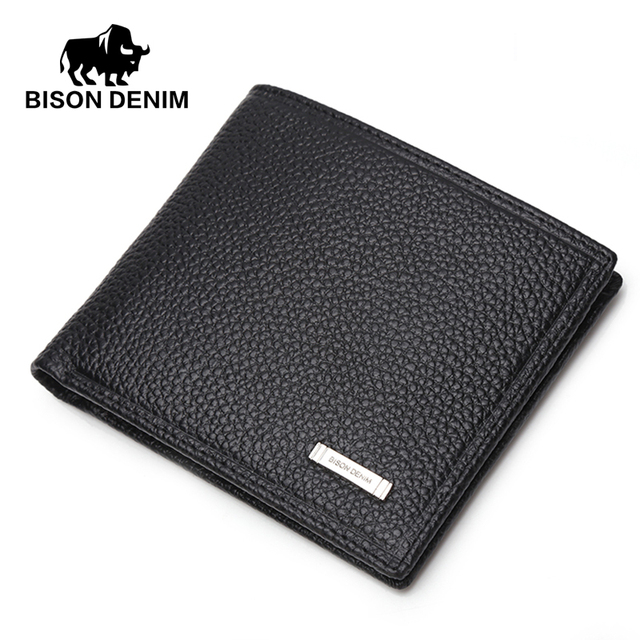 BISON DENIM Casual short wallet men Genuine Leather wallets,Wallet Card holder Purses ,purse male gift card holder for men N4357