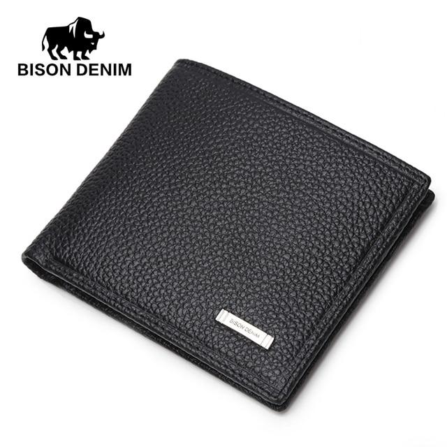 BISON DENIM Casual short wallet men Genuine Leather wallets,Wallet Card holder Purses ,purse male gift card holder for men N4357