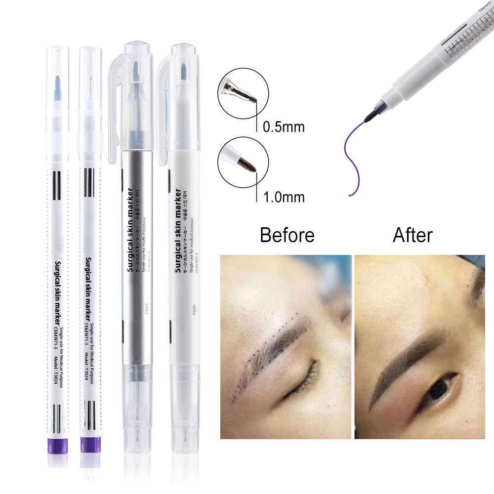 1 Set Surgical Skin Marker Eyebrow Marker Pen Beauty Tattoo Skin Marker Pen With Measuring Ruler Positioning Tool