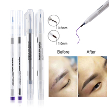 1 Set Surgical Skin Marker Eyebrow Marker Pen Beauty Tattoo Skin Marker Pen With Measuring Ruler Positioning Tool