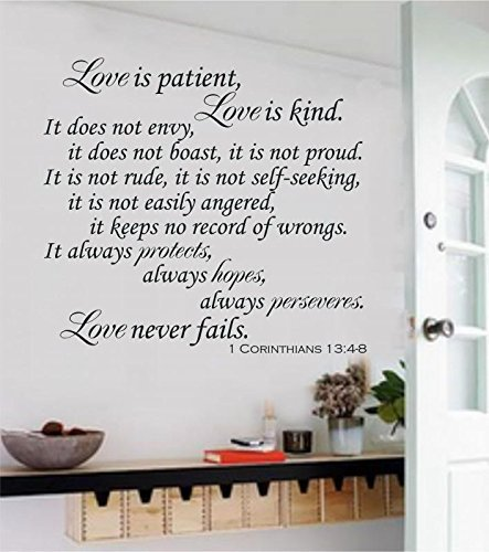 Bible Wall Stickers Love Is Patient Scripture Quote Wall Decal Bible