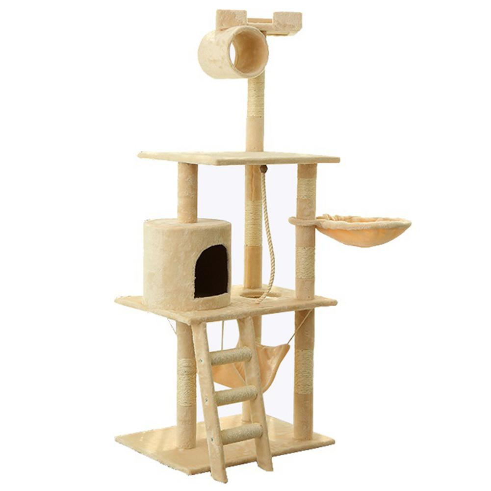 HobbyLane <font><b>Large</b></font> Wooden Climbing <font><b>Tree</b></font> <font><b>Cat</b></font> Scratch Climbing Jumping Furniture With Ladder Kitten Play Toy Sleeping Mat image