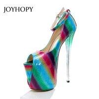 JOYHOPY Printemps Été 19 cm Talon Mince Grand Szie Femmes Pompes Coloré Danse Partie Plate-Forme de Passerelle Chaussures Femme De Mariage Haute talons