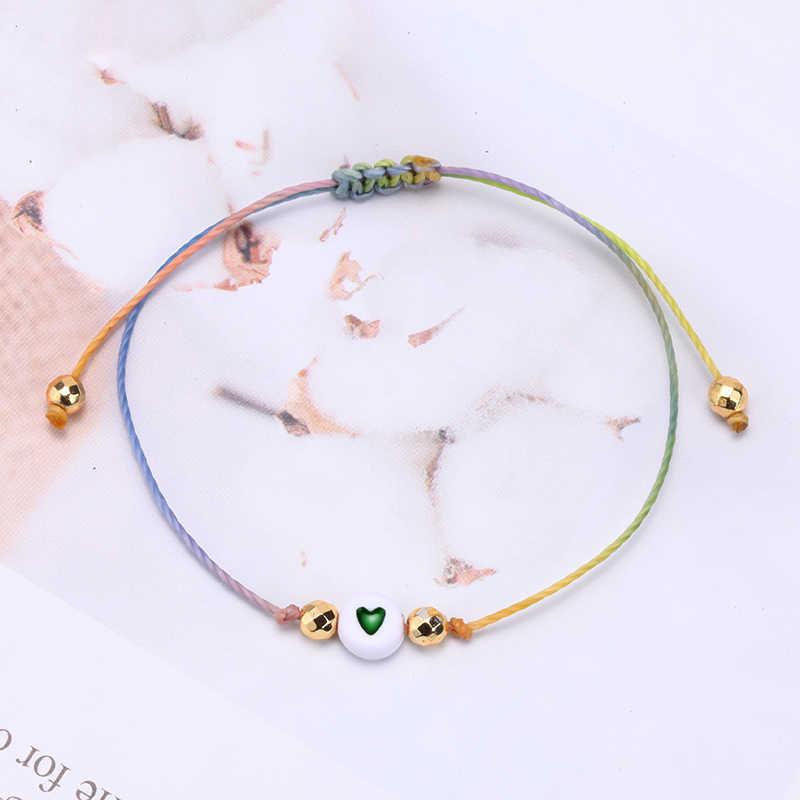 ידידות צמידי נשים גברים זוג מחרוזת קלוע DIY מתכוונן חבל מזל צמיד מכתב אהבת קסם תכשיטים