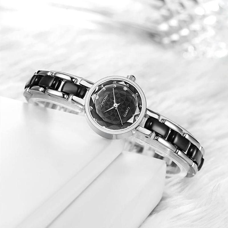 SINOBI New Women Watches Flower Print Diamond Black/White Small Dial Elegant Japan Imported Quartz Bracelet Watches Ladies Watch
