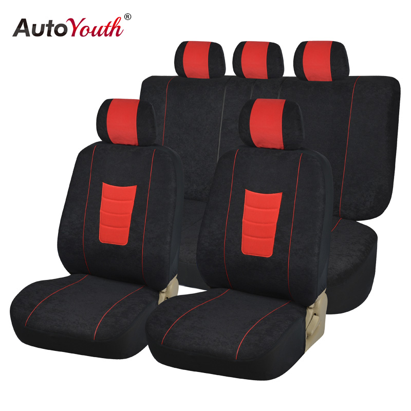 autoyouth new fashion velvet full car seat covers universal fit most car styling black seat. Black Bedroom Furniture Sets. Home Design Ideas