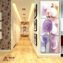 3 pieces stereoscopic art Dandelion Flower Corridor canvas oil painting living room pictures on the wall Modular pictures Print