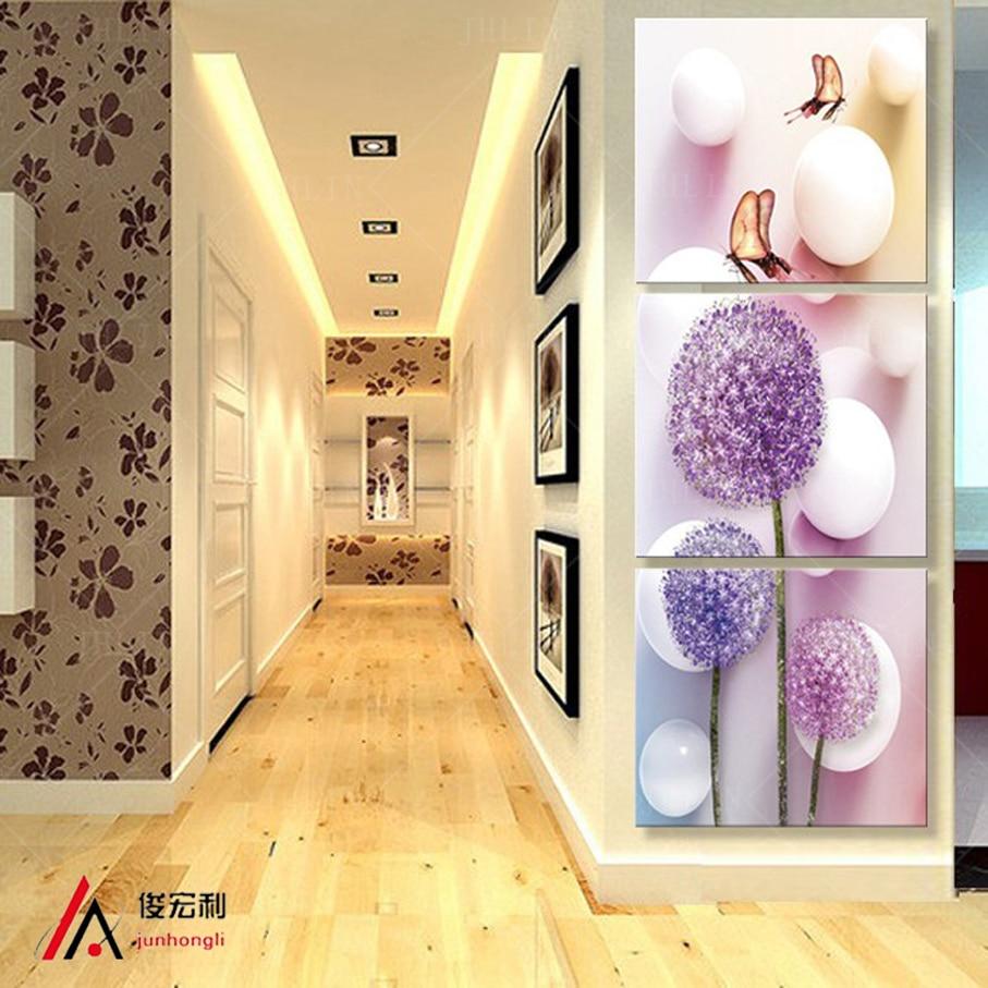 3 ədəd stereoskopik sənət Dandelion Çiçək dəhlizi kətan - Ev dekoru - Fotoqrafiya 1