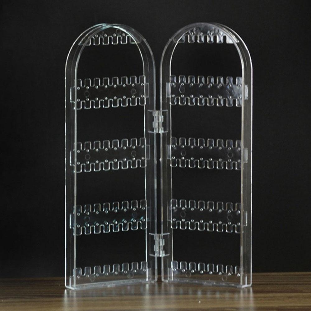 Ювелирные изделия Висячие Держатель пластиковые 2 двери серьги кронштейн стойки аксессуары подарки Подставка серьги рамка ювелирное шоу - Цвет: transparency